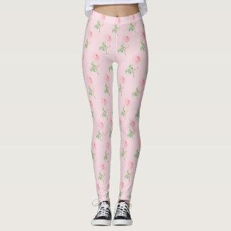 Rosa cor-de-rosa das caneleiras da beleza legging
