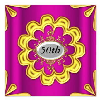 Rosa cor-de-rosa do ouro da festa de aniversário convite