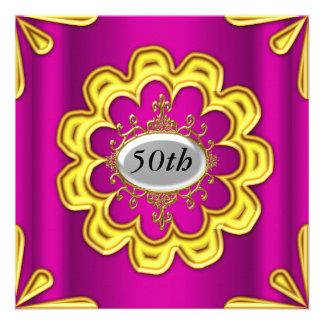 Rosa cor-de-rosa do ouro da festa de aniversário d convite