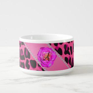 Rosa cor-de-rosa do rosa quente do leopardo do tigela para sopa