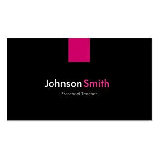 Rosa cor-de-rosa moderno do professor pré-escolar cartão de visita