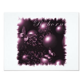 Rosa cristão da arte das borboletas renascido convite 10.79 x 13.97cm