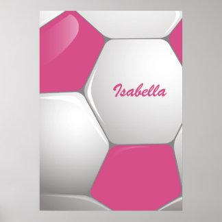 Rosa customizável e branco da bola de futebol do pôster