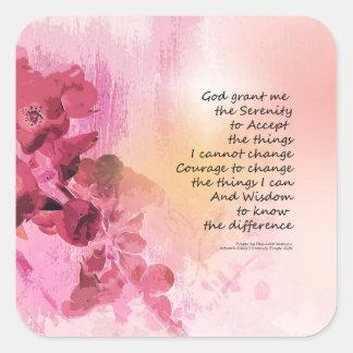 Rosa da cerca 3 do marmelo da oração da serenidade adesivo quadrado