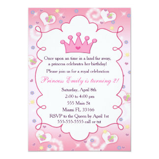 Rosa da coroa da festa de aniversário da princesa convite 12.7 x 17.78cm
