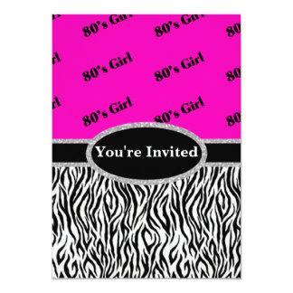 rosa da menina do anos 80 & monograma de néon da convite 12.7 x 17.78cm