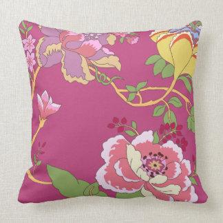 Rosa da papoila do design floral do Chinoiserie Almofada