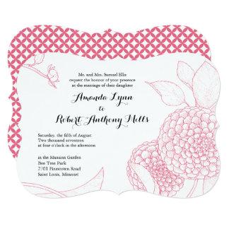 Rosa da peônia do convite do casamento da dália de