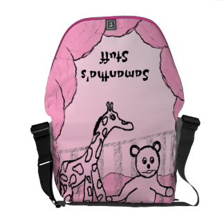Rosa da sala de criança personalizado bolsas mensageiro