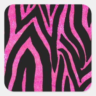 Rosa da zebra listrado adesivo quadrado