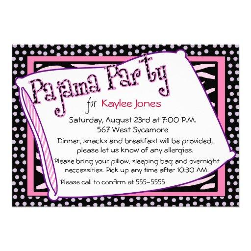 Rosa das bolinhas do partido de pijama convites personalizado