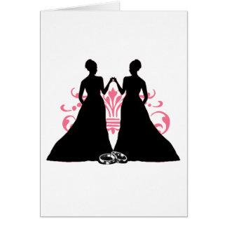 Rosa das noivas do casamento gay dois cartão comemorativo