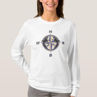 Rosa de compasso da baleia camiseta