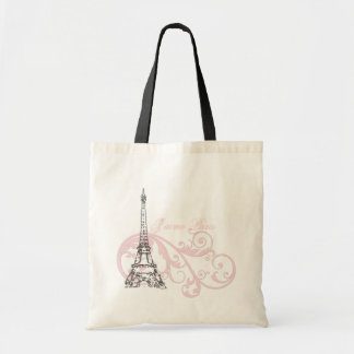 Rosa de Paris da torre Eiffel Bolsa Tote
