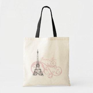Rosa de Paris da torre Eiffel Sacola Tote Budget