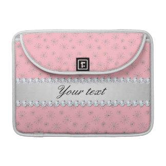 Rosa de prata chique dos flocos de neve do brilho bolsas para MacBook