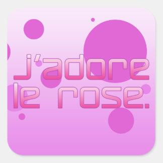 Rosa do amor de Eu de J'Adore Le Aumentação em Adesivo Em Forma Quadrada