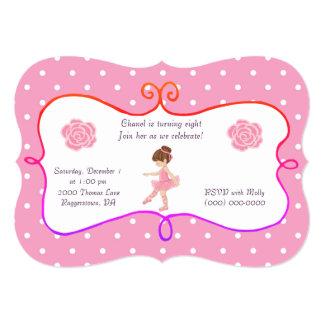 Rosa do aniversário da bailarina convite 12.7 x 17.78cm