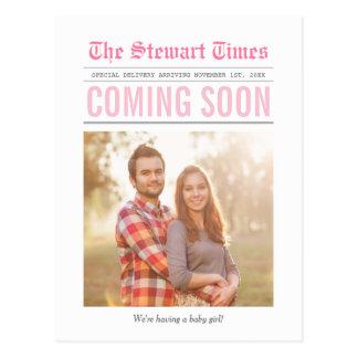 Rosa do anúncio | da gravidez do jornal | cartão postal