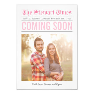 Rosa do anúncio | da gravidez do jornal | convite 12.7 x 17.78cm