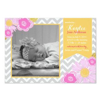 Rosa do anúncio do nascimento do bebé de Chevron Convite 12.7 X 17.78cm