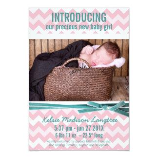 Rosa do bebé e foto de Chevron da cerceta Convite 8.89 X 12.7cm