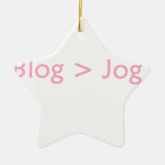 Rosa do blogue ornamento de cerâmica estrela