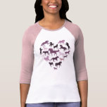 Rosa do cavalo e do tshirt do coração