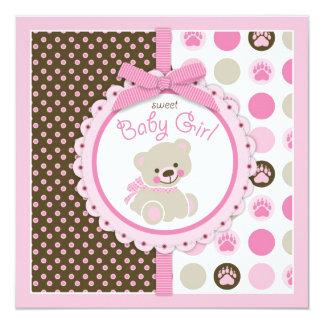 Rosa do chá de fraldas da menina do urso de convite quadrado 13.35 x 13.35cm