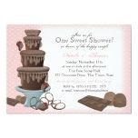 Rosa do chá de panela da fonte do chocolate convite 12.7 x 17.78cm