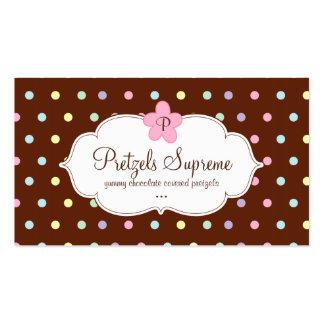 Rosa do chocolate das bolinhas da padaria floral modelo cartão de visita