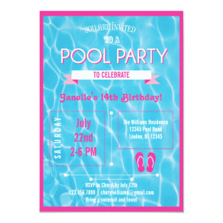 Rosa do convite da festa na piscina