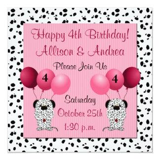 Rosa do convite de aniversário dos gêmeos 4o