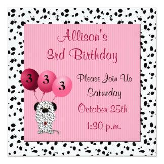 Rosa do convite de festas do aniversário de 3 anos