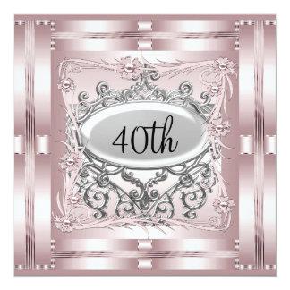 Rosa do convite de festas do aniversário de 40