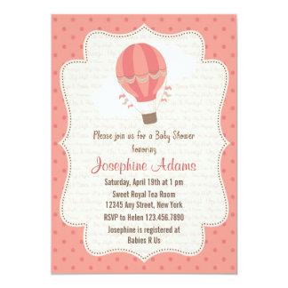 Rosa do convite do chá de fraldas do balão de ar