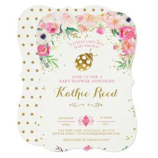 Rosa do convite do chá de fraldas do joaninha