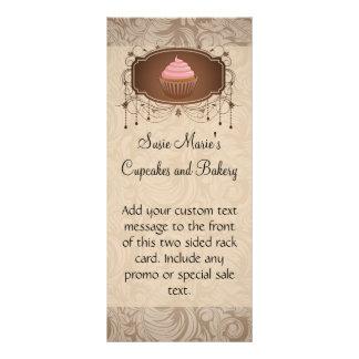 Rosa do cupcake do quadro do candelabro e damasco 10.16 x 22.86cm panfleto