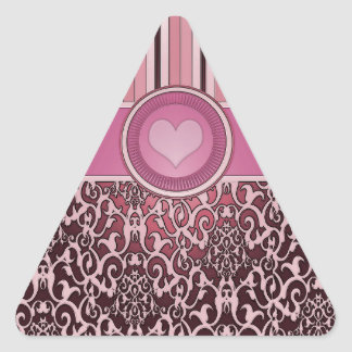 Rosa do damasco com listras e coração adesivo triangular