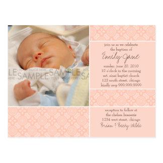 Rosa do Encaustic • Cartão do convite do baptismo Cartão Postal