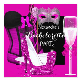 Rosa do espartilho de Champagne Bachelorette do Convite Quadrado 13.35 X 13.35cm