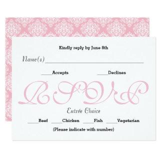 Rosa do fundo - cartão da resposta da recepção de convite 8.89 x 12.7cm
