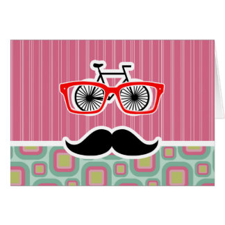 Rosa do hipster e bigode retro da hortelã cartoes