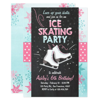 Rosa do inverno do skate do convite do aniversário
