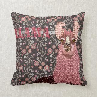 Rosa do lama & vintage Mojo floral Pillo de Brown Almofada