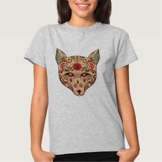 Rosa do malva de Tan da cabeça do lobo do crânio T-shirts