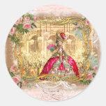 Rosa do partido de Marie Antoinette Versalhes Adesivos Em Formato Redondos