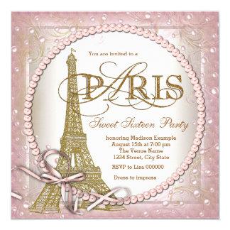 Rosa do partido do doce 16 de Paris e pérola do Convite Quadrado 13.35 X 13.35cm
