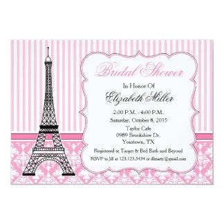 Rosa do partido do tema da torre Eiffel de Paris Convite 12.7 X 17.78cm