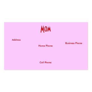 Rosa do rosa da mamã mim cartão de visita